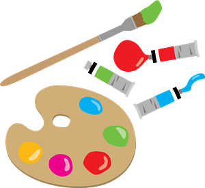Paint Palette, Paint Tubes, and Brush clipart