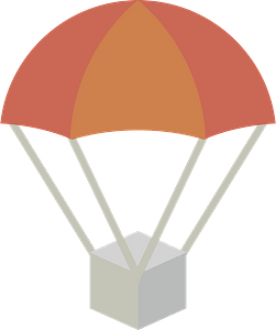 Parachute is Dropping Relief Supplies clipart