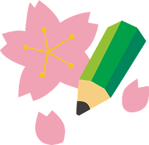 Green Pencil and Cherry Blossoms clipart