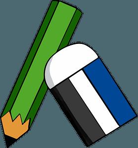 Green Pencil and Eraser clipart