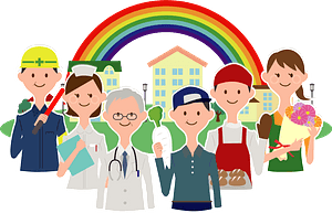 People with Different Professions Standing in front of a Rainbow clipart