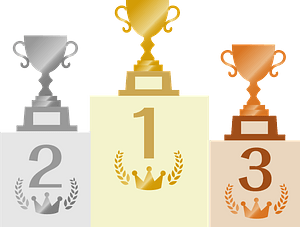 Podium and Trophies clipart
