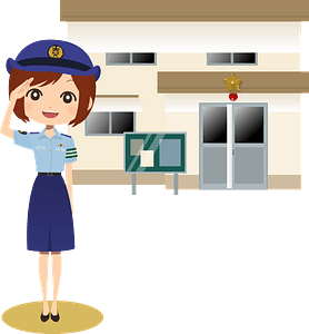 Police Officer in front of Police Station clipart