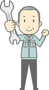 (Matt) Businessman is Holding a Spanner clipart