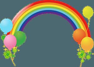 Rainbow, Balloons, and Clover clipart