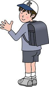 Schoolboy Wearing a Backpack clipart