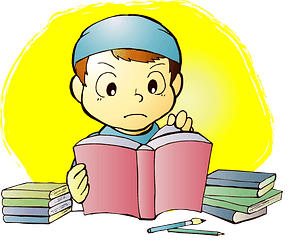 Reading a Book to Study clipart