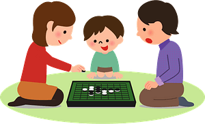 Family Playing Reversi Game clipart
