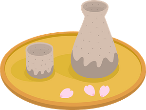 Sake Drink on a Tray clipart
