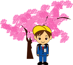 Schoolboy Under the Cherry Blossoms clipart