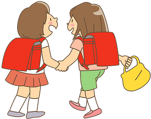 Schoolgirls are Friends clipart