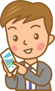 Businessman on His Smartphone clipart