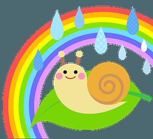 Snail in the Rain under a Rainbow clipart