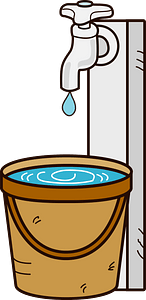 Tap Water Supply Dripping into a Bucket clipart