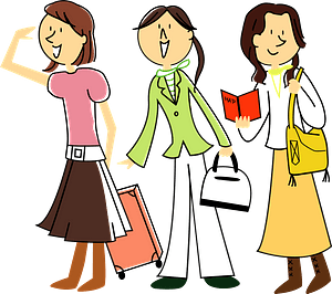 Three Women are Traveling clipart