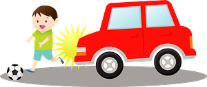 Traffic Accident - Car almost hits small boy clipart