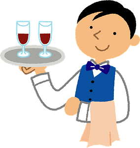 Waiter Man Carrying Wine clipart