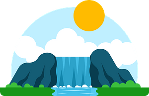 Waterfall in Landscape Scene clipart