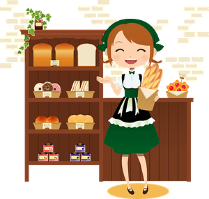 Woman Working in a Bakery Shop clipart