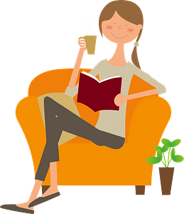 Woman Is Drinking Coffee and Reading Book clipart
