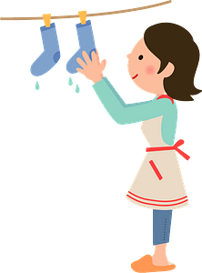 Woman Is Hanging Laundry to Dry clipart