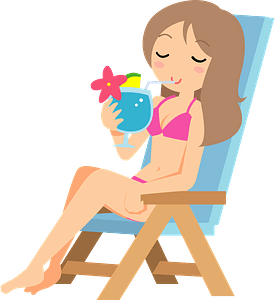 Woman Is Relaxing at a Resort on Vacation clipart