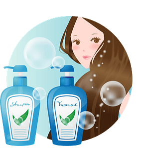 Woman with Shampoo and Conditioner clipart