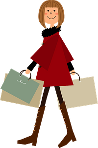 Woman with Shopping Bags clipart