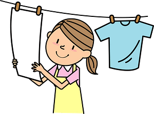 Woman Is Hanging Laundry clipart