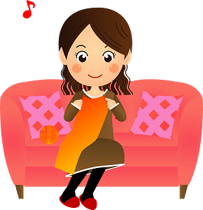 Woman Is Knitting clipart