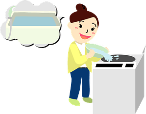 Woman Is Doing Laundry - Saving Water clipart