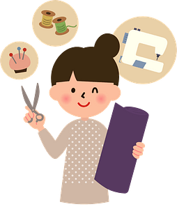 Woman is Sewing clipart