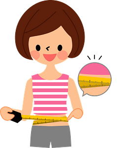 Woman Measuring Waist Size clipart