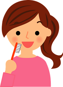 Woman Using Toothbrush clipart