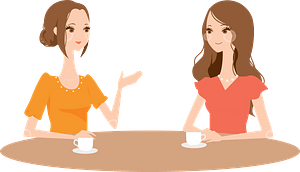 Women Having Coffee Together in a Cafe clipart