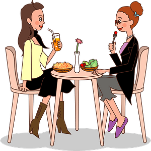 Women Are Eating Lunch Together clipart