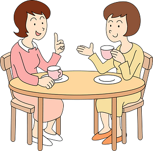 Women are Talking in a Cafe clipart