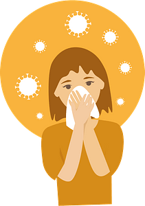 Girl sneezing to tissue with viruses clipart