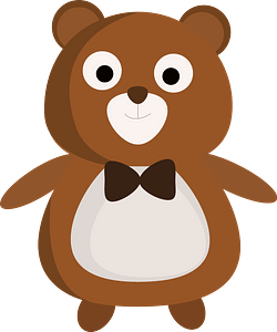 Cute bear with bow tie clipart