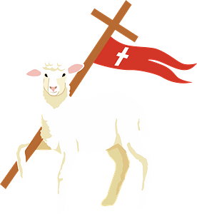 Easter lamb and Jesus's Cross clipart