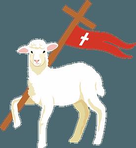 Easter lamb and Jesus's Crossのクリップアート