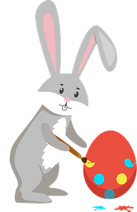 Easter rabbit painting egg clipart