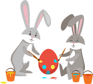 Easter rabbits painting eggs clipart