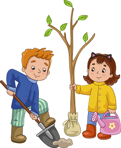 Boy and girl planting a tree clipart