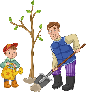 Dad and son planting a tree clipart