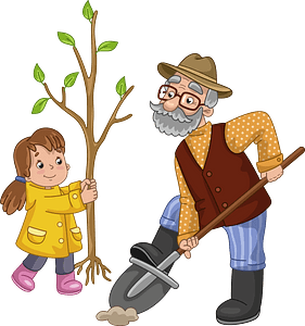 Granddad and granddaughter planting a tree clipart