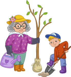 Granny and grandson planting a tree clipart