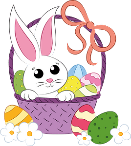 Easter basket and bunny clipart