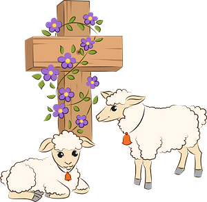 Easter lambs and Jesus's Cross clipart