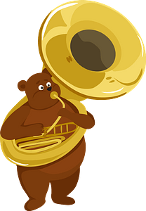 Bear playing sousaphone clipart